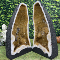 """EYES OF THE SUN"" Matching Citrine Geode Pair 21.00 High Quality Brazil Cathedral NS-542"