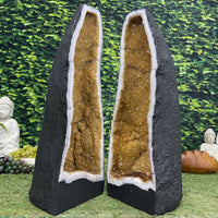 """BLINDED BY THE LIGHT"" Matching Citrine Geode Pair 23.50 High Quality Tall Cathedrals NS-543"