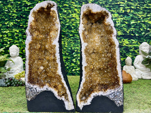 """TATER TOTS"" Matching Citrine Geode Pair 19.00 High Quality NS-544"