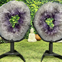 """TWINSIES"" 2 Amethyst Geode Slices 16.00 High Quality w Swivel Stands NS-550"