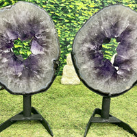 """PEANUT BUTTER & JELLY"" 2 Amethyst Geode Slices 16.00 High Quality w Swivel Stands NS-551"