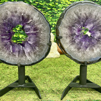 """SALT & PEPPER"" 2 Amethyst Geode Slices 13.00 High Quality w Swivel Stands NS-552"
