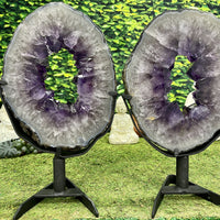 """BIRDS OF A FEATHER"" 2 Amethyst Geode Slices 17.00 High Quality w Swivel Stands NS-553"