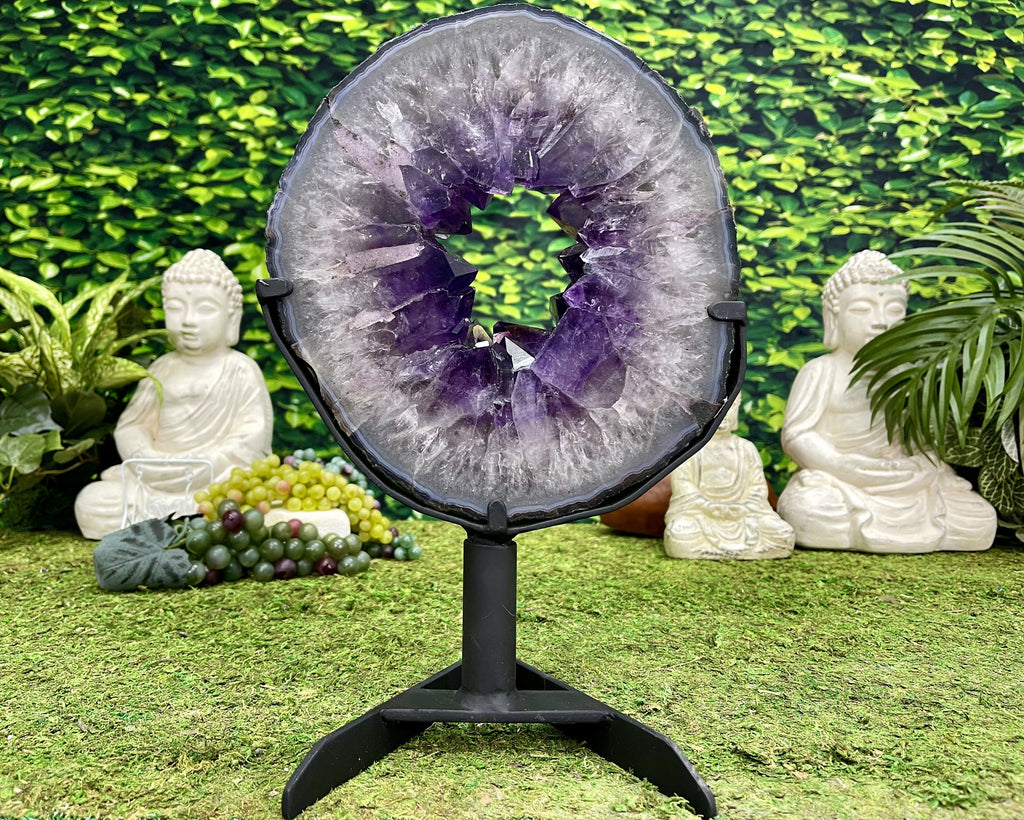 """FRISBEE"" Amethyst Geode Slice 14.00 Brazil w Swivel Stand High Quality NS-556"