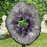 """MUSIC OF MOTHER NATURE"" Amethyst Geode Slice 17.00 Brazil w Swivel Stand High Quality NS-557"