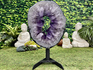 """MAGNIFYING GLASS"" Amethyst Geode Slice 16.00 Brazil w Swivel Stand High Quality NS-558"
