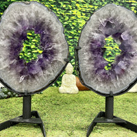 """TWINKLE TWINKLE"" 2 Amethyst Geode Slices 16.00 High Quality w Swivel Stands NS-562"