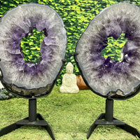 """BANG BANG"" 2 Amethyst Geode Slices 16.50 High Quality w Swivel Stands NS-563"