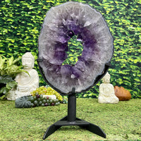 """PURPLE FIRE"" Amethyst Geode Slice 16.00 Brazil High Quality NS-564"