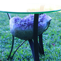 """Elixir of Life"" High Quality 18.00 Amethyst Geode Table w Custom Glass & Stand"