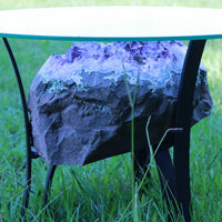 """Round Rover"" Amethyst Geode Table 16.25"" High Quality w Custom Glass & Stand"