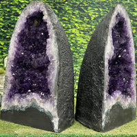 """SILVER LININGS"" Amethyst Geode Pair 18.00 Very High Quality Cathedrals NS-591"