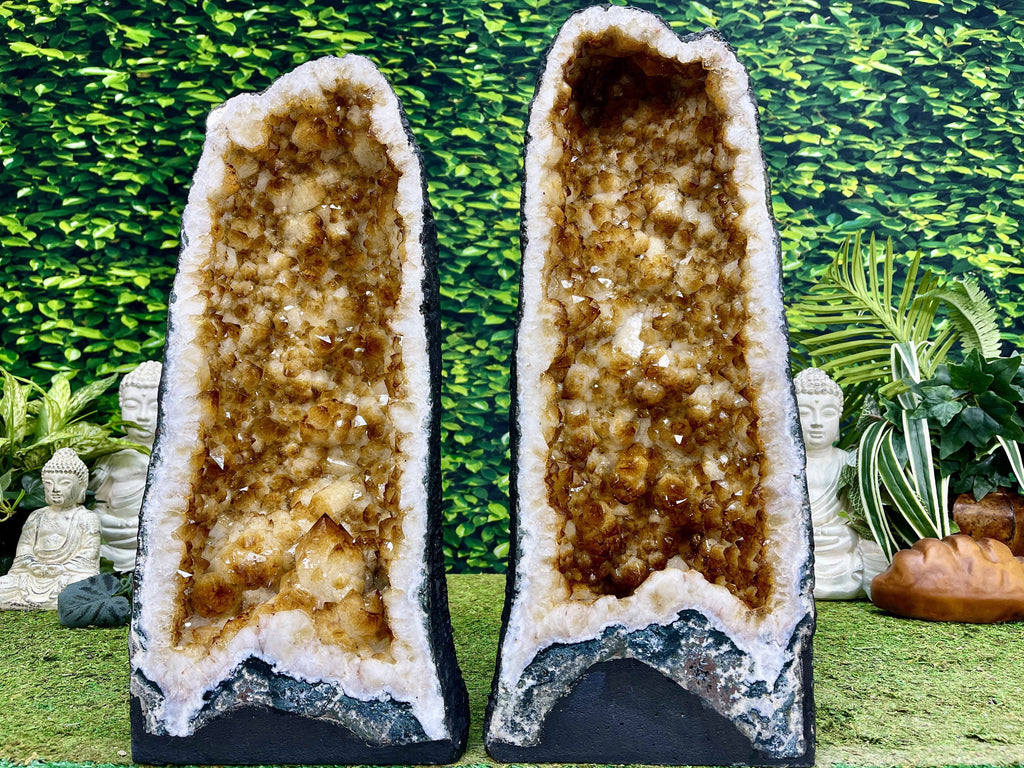"""GOLDEN OPPORTUNITIES"" Matching Citrine Geode Pair 22.00 High Quality Brazil Cathedrals NS-602"