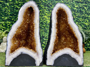 """PERMANENT PASSION"" Matching Citrine Geode Pair 19.00 High Quality Deep Cathedrals NS-624"