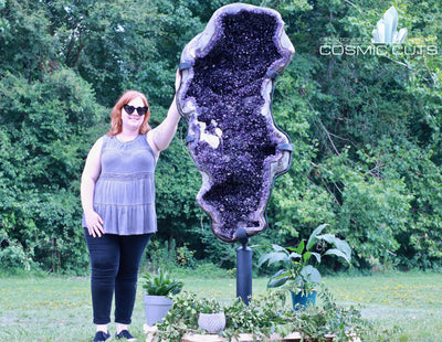Huge Uruguayan Amethyst Geode Custom Swiveling Stand Rare Mineral High Quality ZZ-2