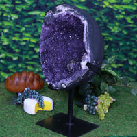 Huge Amethyst Geode Uruguayan w Stand Rare Mineral 23.25 CC-118s