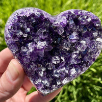 """BLESS YOUR HEART"" Amethyst or Citrine Geode Heart YOUR CHOICE Very High Quality"