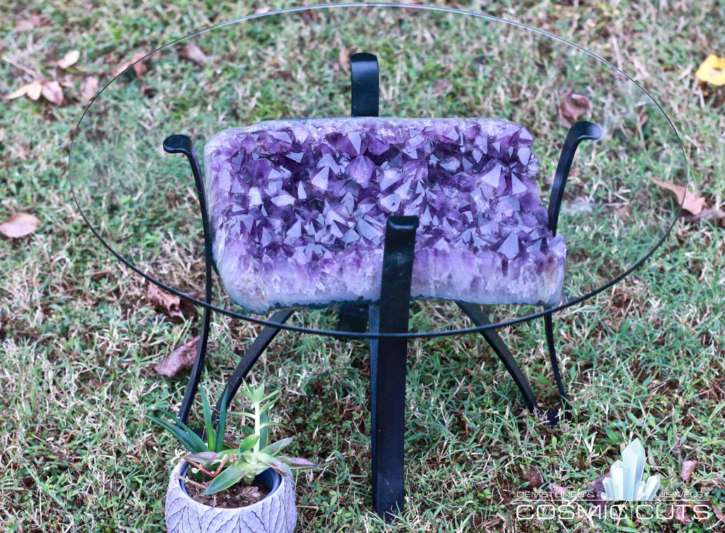 Amethyst Geode Table Custom Glass 26.00 Iron Stand Custom Glass Rare Mineral GG-18s