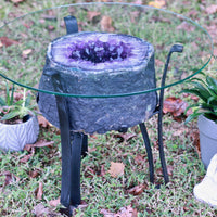 Deep Amethyst Geode Table Custom Glass 22.00 Iron Stand Custom Glass GG-19s