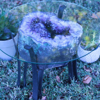 Deep Amethyst Geode Cathedral High Quality 22.00 Iron Stand Custom Glass Rare Mineral GG-22s
