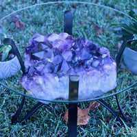 High Quality Amethyst Geode Table Iron Stand 22.00 Custom Glass GG-24s