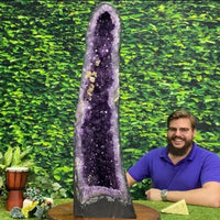 """FEELIN LUCKY"" Tall Amethyst Geode 34.00 Brazil Dark Purple Cathedral NS-411"