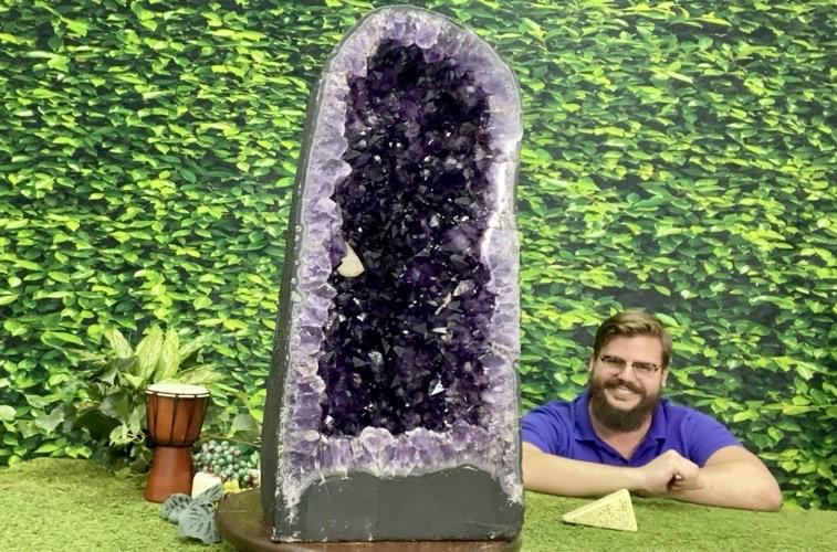 """SIZE MATTERS"" Huge Deep Amethyst Geode 29.00 Super High Quality Cathedral NS-412"
