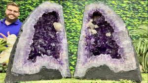 """UNIVERSAL UNITS"" Amethyst Geode Pair 12.00 Very High Quality Cathedral NS-578"