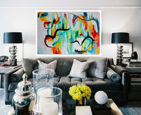 We offer abstract paintings.  We ship across all states in the USA.