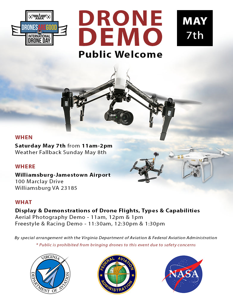 Drone Demo in Williamsburg, VA on International Drone Day - May 7, 2016