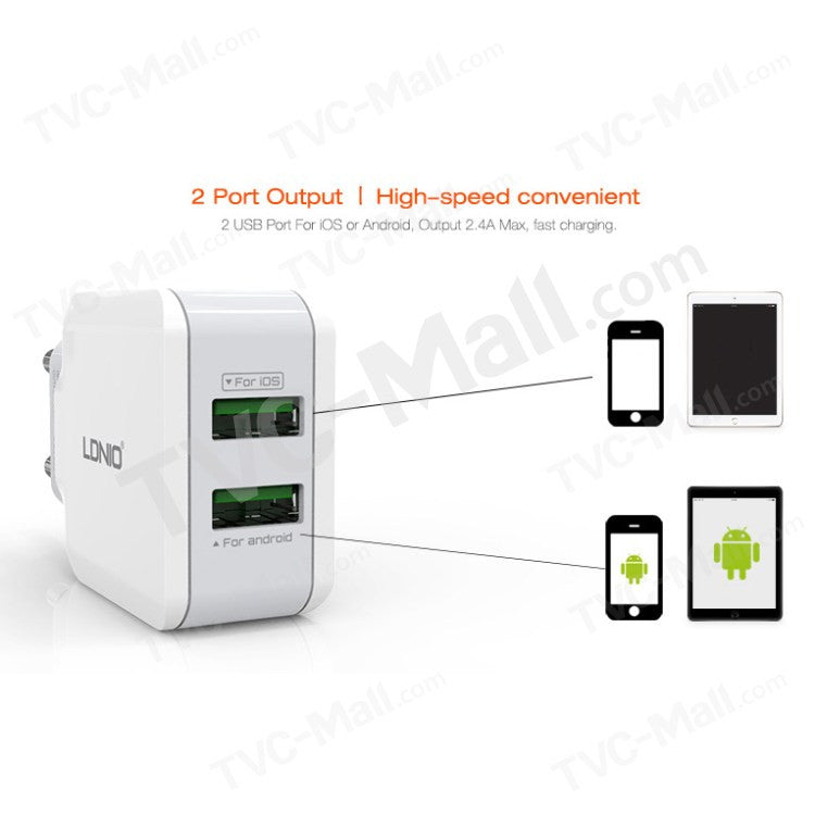 LDNIO Charger USB 2 Port 2.4A A2202 / USB Adaptor / Charger Handphone