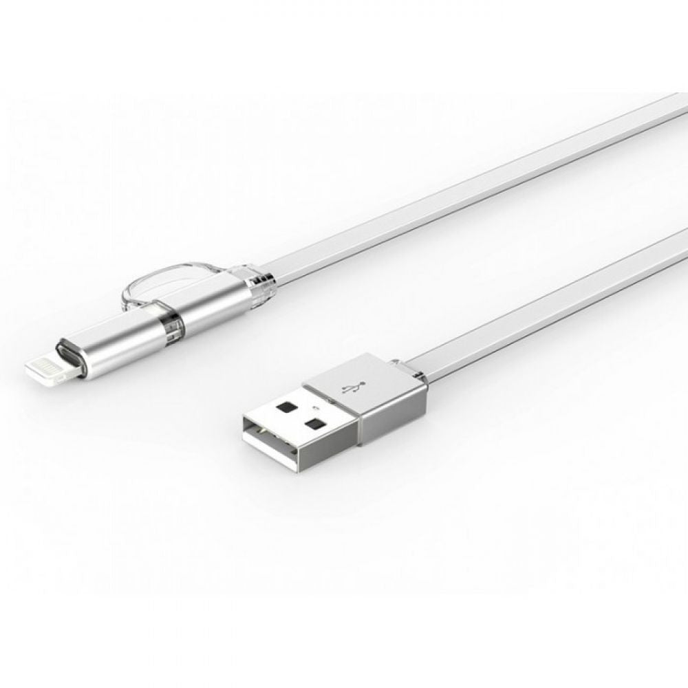 LDNIO 2-In-1 USB Data Cable with 1 Micro USB & 1 Lightning