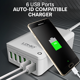 LDNIO A6703 7A 6-Port USB Smart Charger