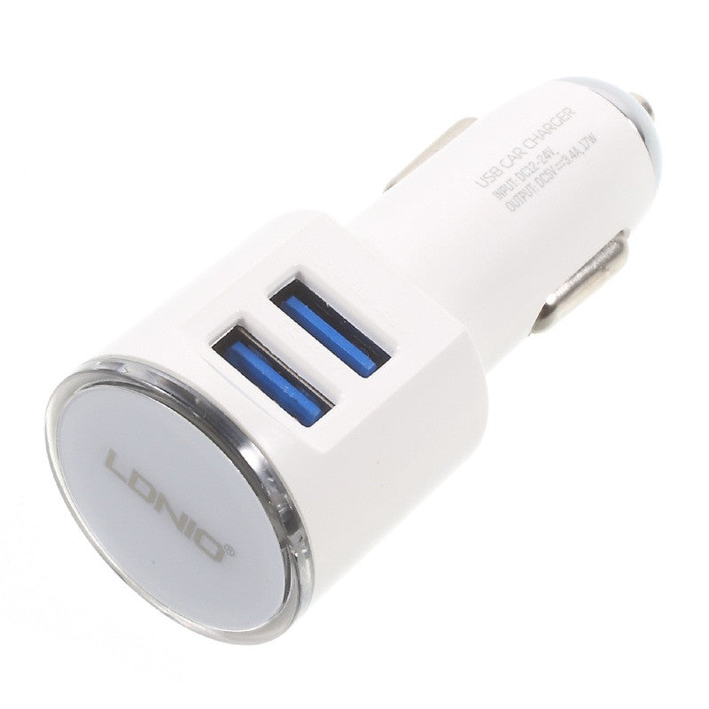 Ldnio DL-C29 Dual USB 3.4A, With Micro USB Cable Car Charger - (White)