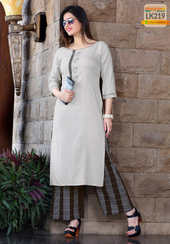 LK219 Mittoo Kurtis & Plazzo Full Stitched