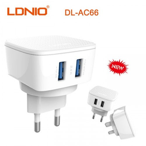 LDNIO DL-AC66 Dual USB Port 2.4A Travel Charger White