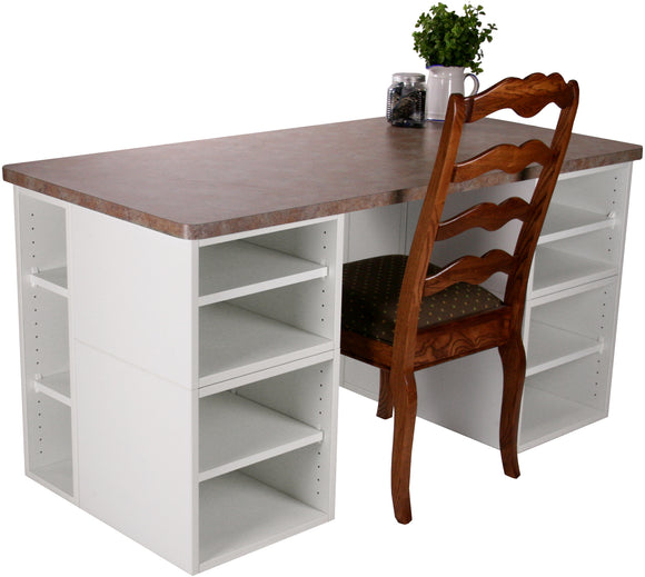 Basic Four Cube Desk with Extension - Legacy Woodcrafters LLC,  Package - Legacy Woodcrafters LLC