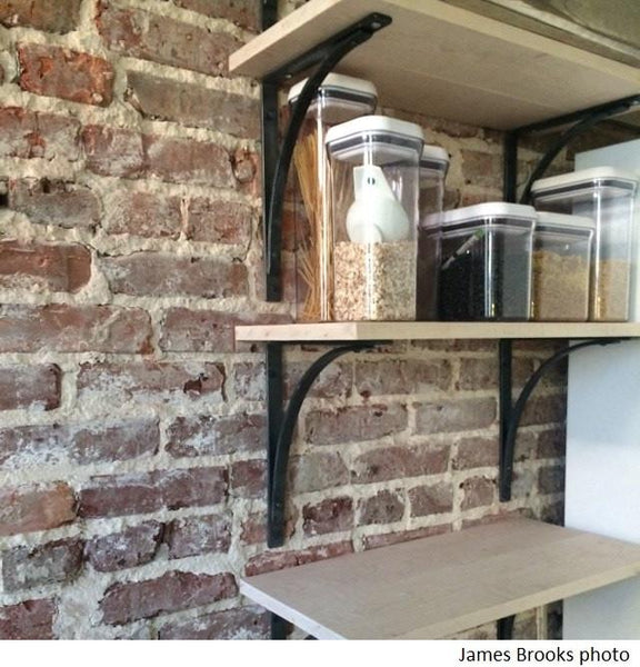 Customer image pantry shelves using iron shelf brackets
