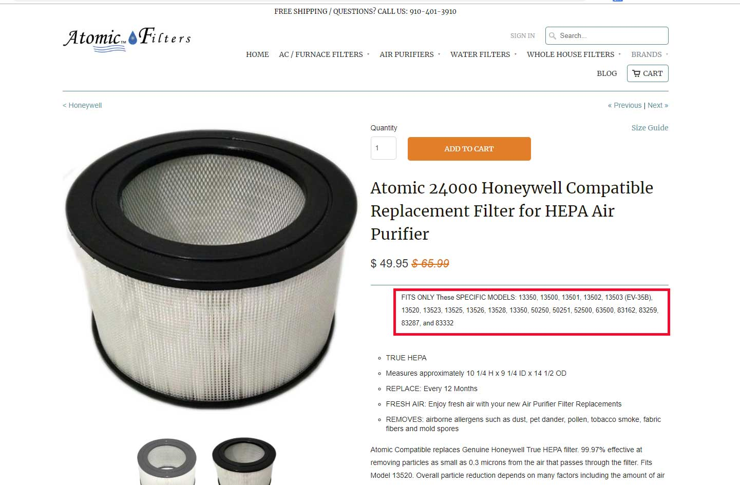 Honeywell Hepa Filter Replacement - Atomic Filters