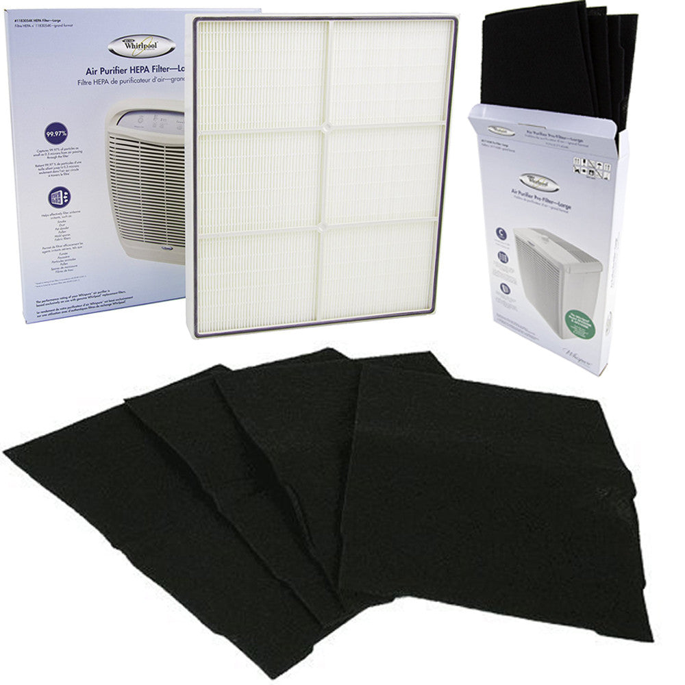 1183054k Genuine Whirlpool True Hepa Filter Set with 817143k Prefilters for whispure 510
