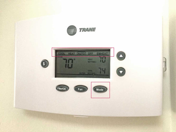 Switch the Thermostat control to OFF using the mode button or off switch