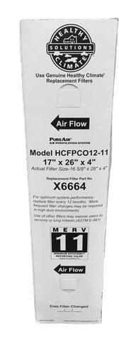 Lennox X6664 17x26x4 MERV 11 Furnace Filter for HCFPCO12-11 Actual Size 16 5/8 x 26 x 4