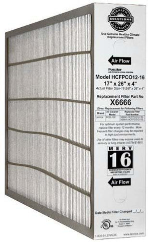 "Lennox Corporation X6666 MERV 16 17 X 26 X 4"" Furnace Filter Lennox Part X6666"