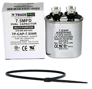 TradePro 7.5 MFD 370 VAC or 440 Volt Fan Motor Run Oval Capacitor Bundle TP-CAP-7.5/440 for Air Handler / Furnace Heat Pump Air Conditioner and Zip Tie