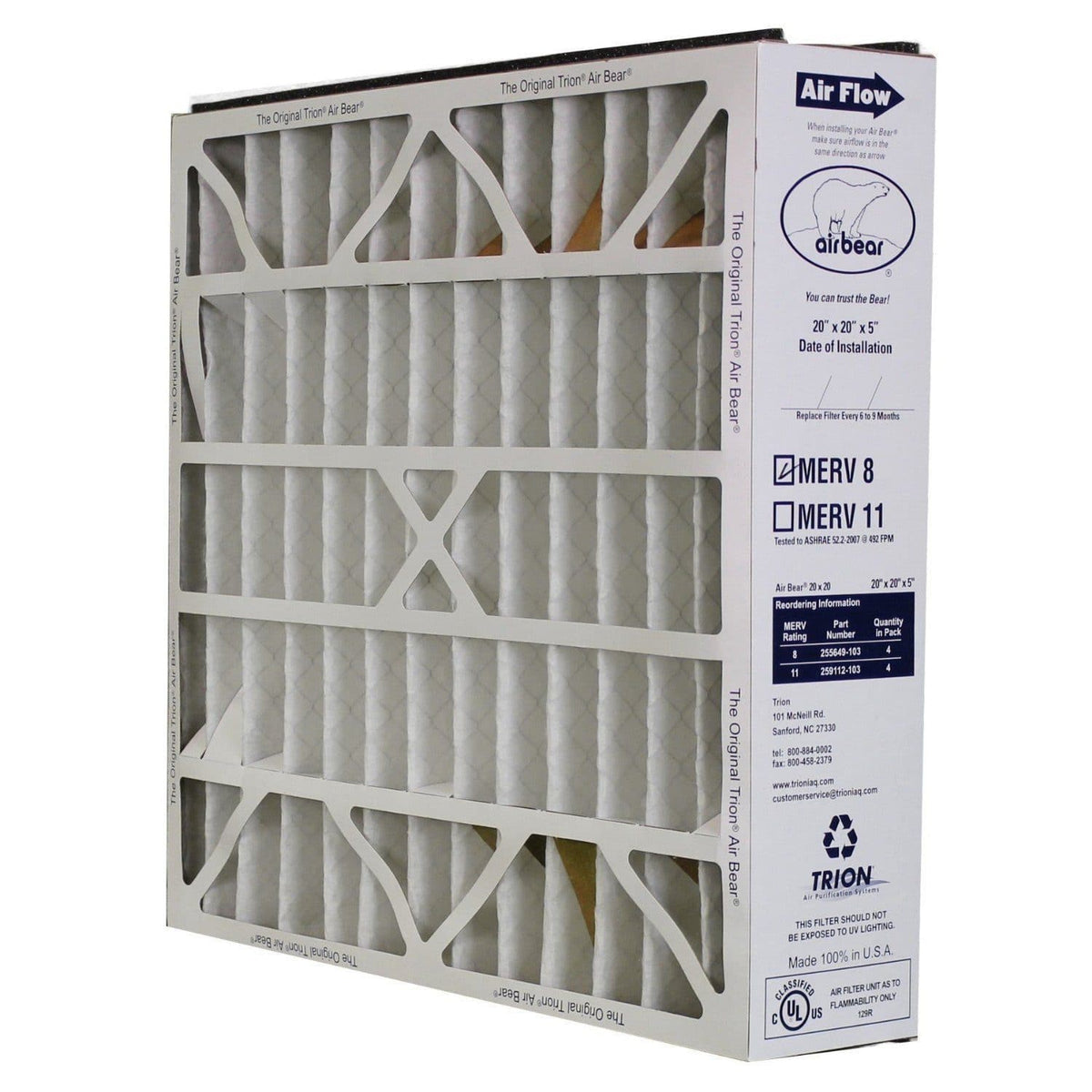 "Trion 255649-103 Air Purifier Filter, 20"" x 20"" x 5"", Bear Series - MERV 8"