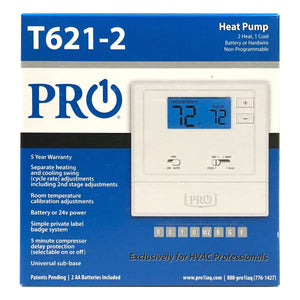 T600 PF : T621-2 non-programmable 2H/1C heat pump w/2 sq.in dis