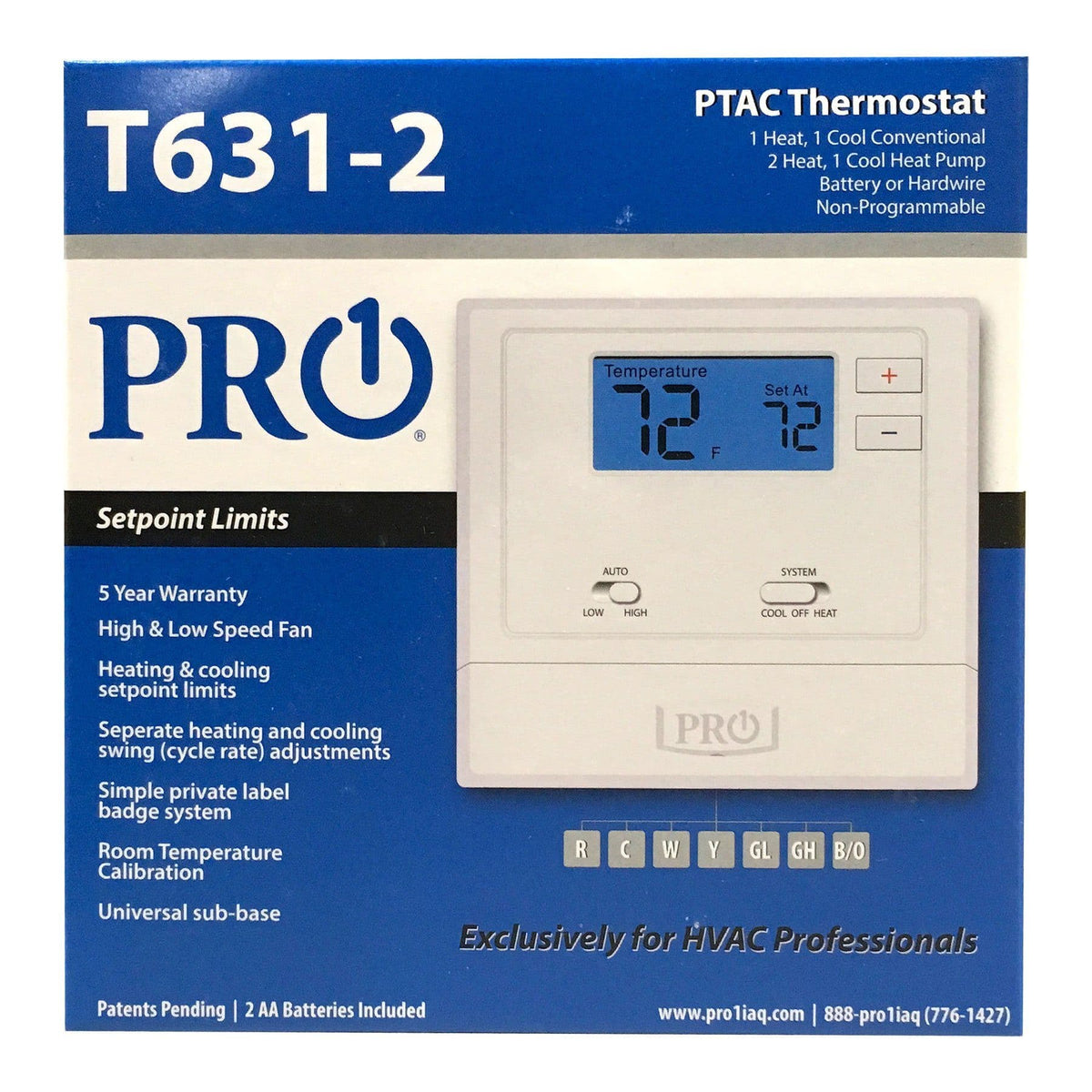 T600 PF: T631-2 Thermostat Wired PTAC thermos NP 1H/1C CV or 2H/1C HP w/2 sqin