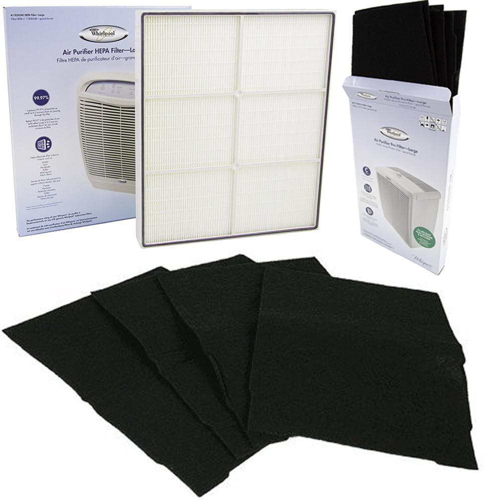 Genuine Whirlpool 1183054K HEPA Whispure Air Purifier Models AP450 and AP510 Bundled with Whirlpool 8171434K  Carbon Pre-Filter 4-Pack Lowest Price Free Shipping Atomic Filters