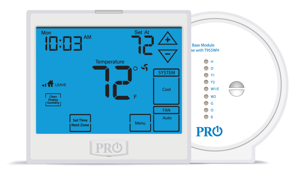 PRO1 IAQ T955WH Touchscreen Universal Programmable Thermostat with Humidity Control