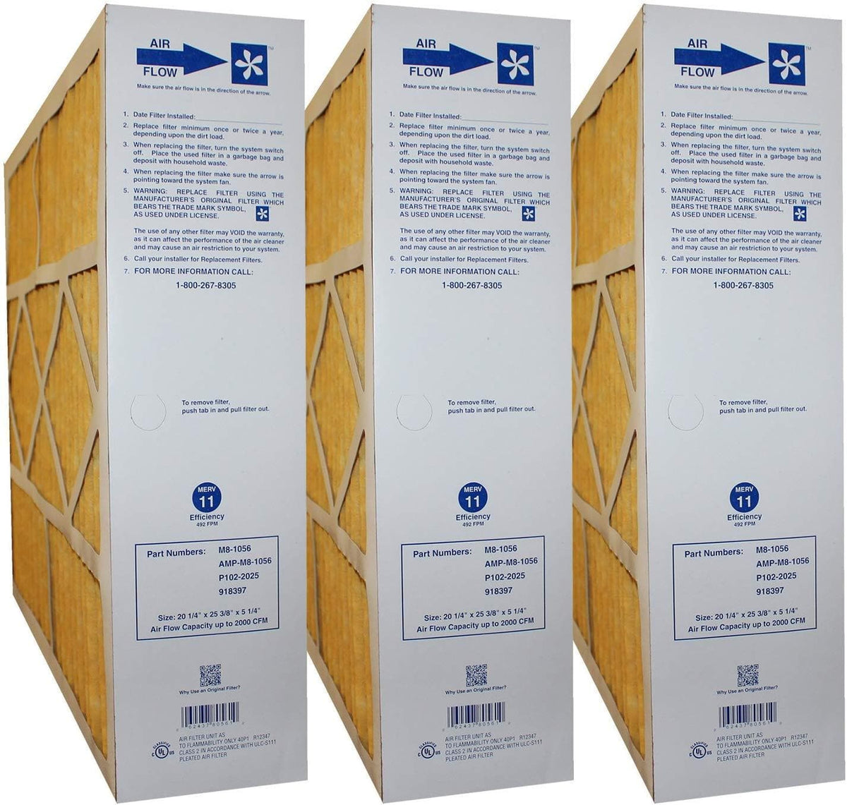 Goodman / Five Seasons M8-1056 Totaline P102-2025 20x25x5 MERV 11 Furnace Filter - 3 Pack